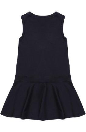 Детское мини-платье джерси с оборкой и бантом ALETTA темно-синего цвета, арт. AF777424/4A-8A | Фото 2