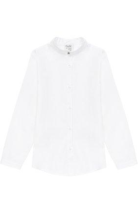 Хлопковая блуза прямого кроя с воротником-стойкой | Фото №1