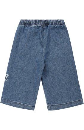 Детские укороченные джинсы с аппликациями и эластичной вставкой на поясе IL GUFO синего цвета, арт. A17PR024J0026/3M-9M | Фото 2