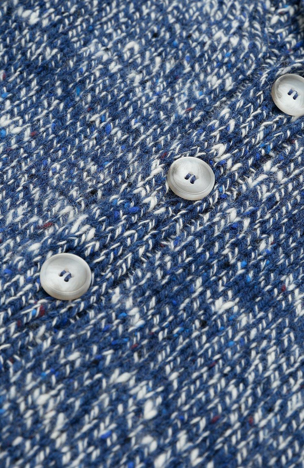 Шерстяной кардиган фактурной вязки с шалевым воротником | Фото №3
