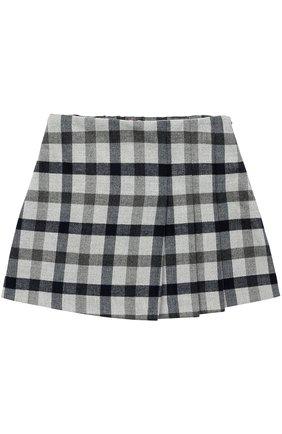 Мини-юбка с принтом и складками | Фото №1
