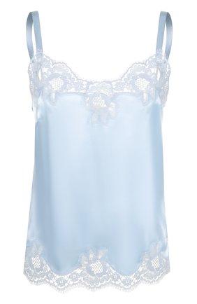 Шелковый топ с кружевной отделкой Dolce & Gabbana голубая | Фото №1