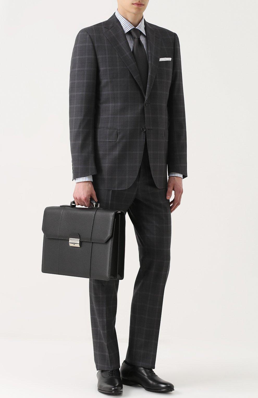 Кожаный портфель с плечевым ремнем Canali черный   Фото №2