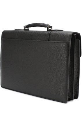 Кожаный портфель с плечевым ремнем Canali черный   Фото №3