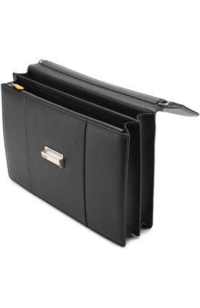 Кожаный портфель с плечевым ремнем Canali черный   Фото №4