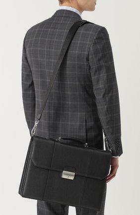 Кожаный портфель с плечевым ремнем Canali черный   Фото №5