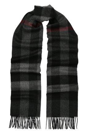 Кашемировый шарф в клетку с бахромой | Фото №1