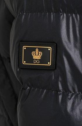 Удлиненный пуховик на молнии с капюшоном Dolce & Gabbana синяя | Фото №5