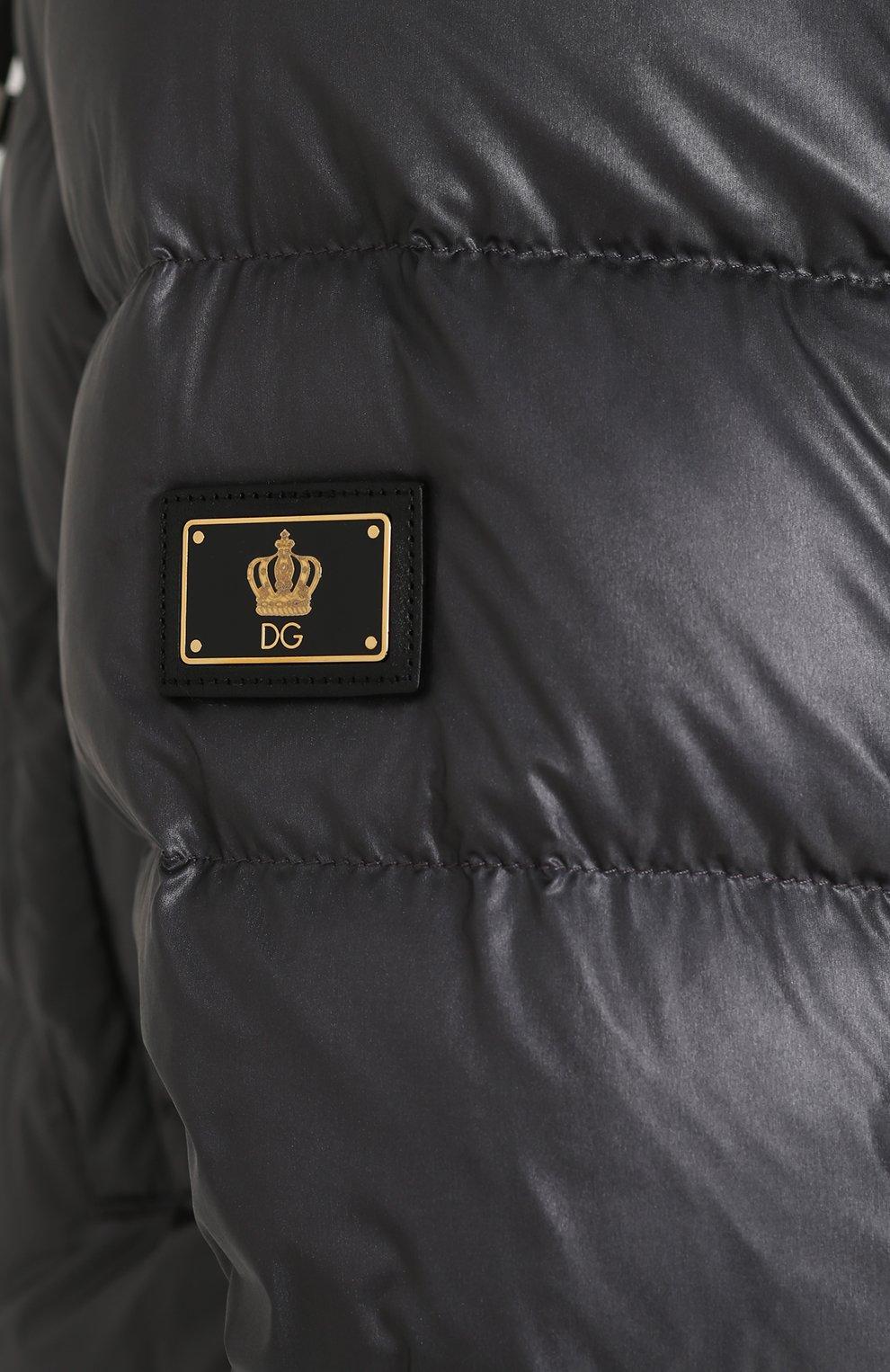 Удлиненный пуховик на молнии с капюшоном Dolce & Gabbana серая | Фото №5