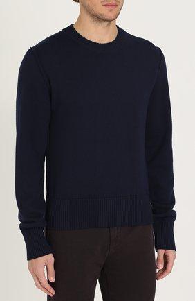 Шерстяной однотонный джемпер Dolce & Gabbana синий | Фото №3