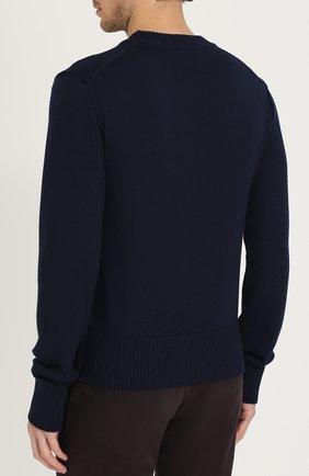 Шерстяной однотонный джемпер Dolce & Gabbana синий | Фото №4