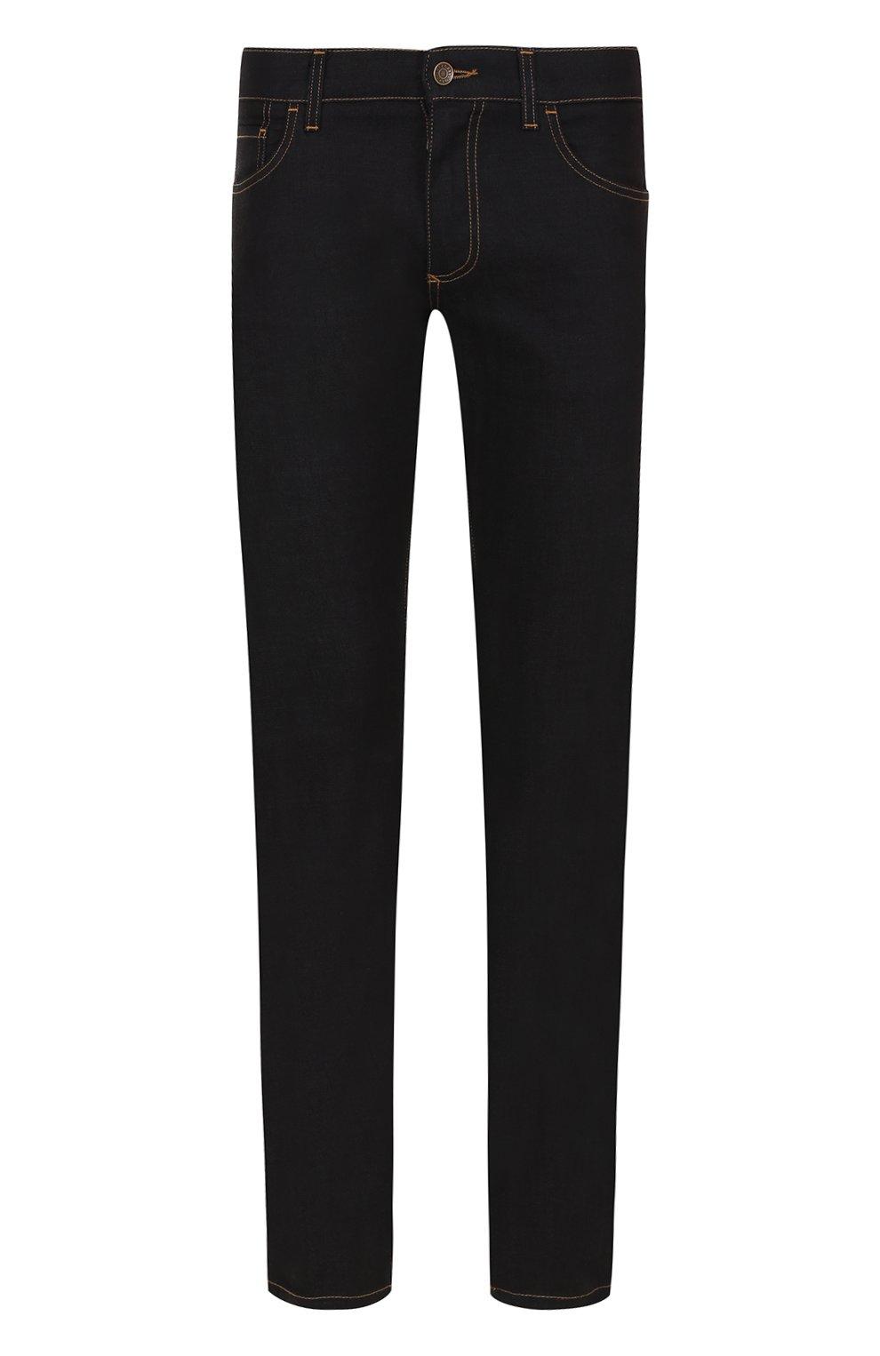 Зауженные джинсы с контрастной прострочкой | Фото №1