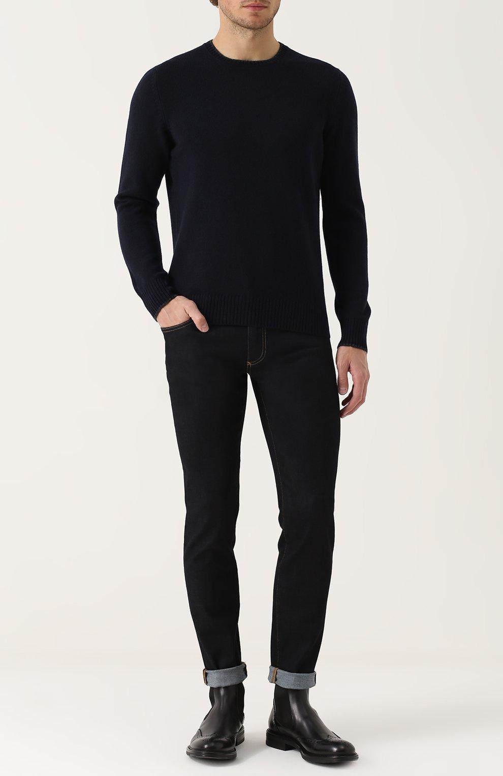 Зауженные джинсы с контрастной прострочкой Dolce & Gabbana синие | Фото №2