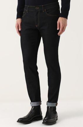 Зауженные джинсы с контрастной прострочкой Dolce & Gabbana синие | Фото №3