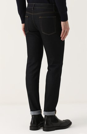Зауженные джинсы с контрастной прострочкой Dolce & Gabbana синие | Фото №4