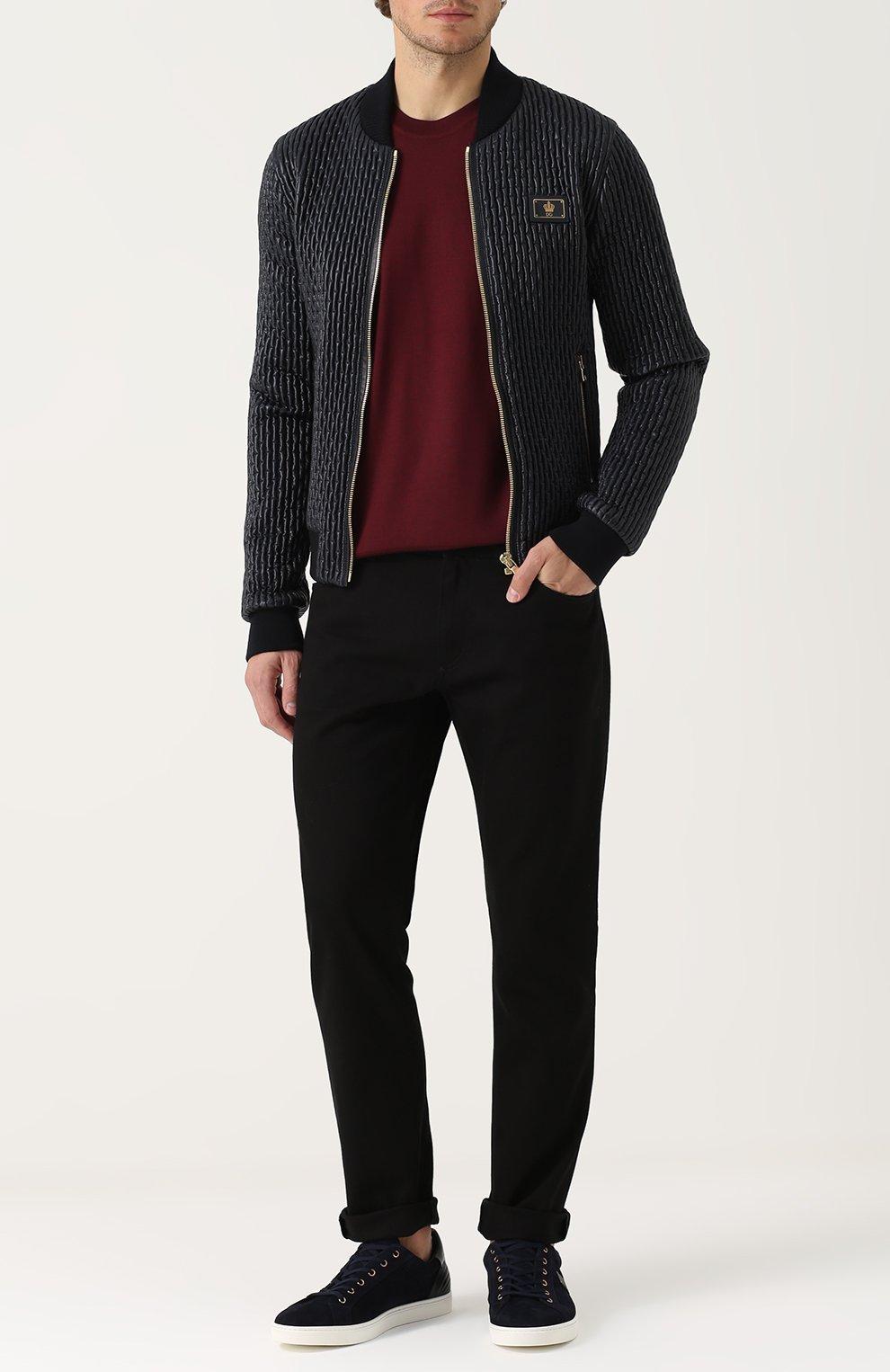 Однотонные джинсы прямого кроя  Dolce & Gabbana черные | Фото №2