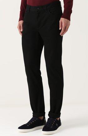 Однотонные джинсы прямого кроя  Dolce & Gabbana черные | Фото №3