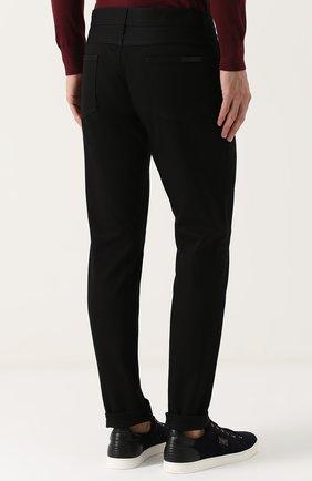 Однотонные джинсы прямого кроя  Dolce & Gabbana черные | Фото №4