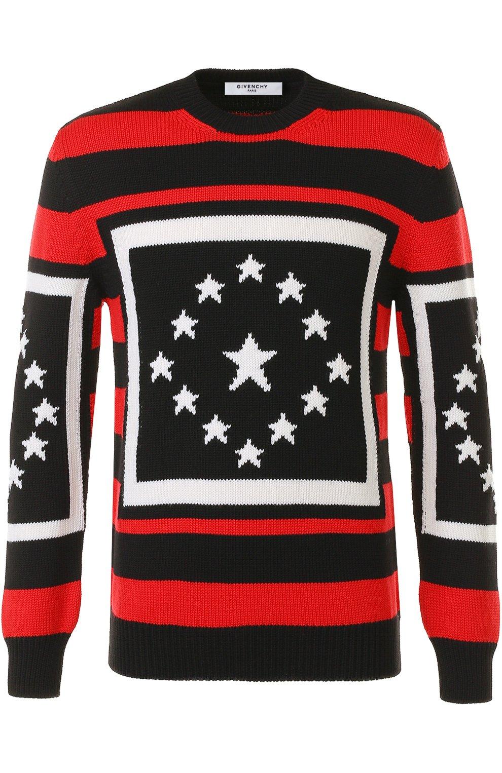 Шерстяной свитер в контрастную полоску | Фото №1