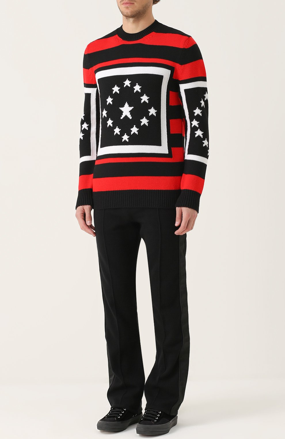 Шерстяной свитер в контрастную полоску | Фото №2