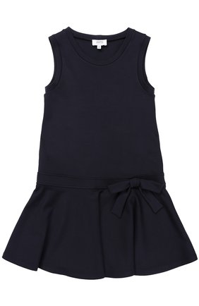 Детское мини-платье джерси с оборкой и бантом ALETTA темно-синего цвета, арт. AF777424/9A-16A | Фото 1