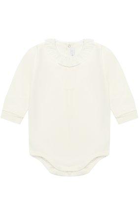 Детское хлопковое боди с оборкой IL GUFO белого цвета, арт. A17MB032M0032/12M-18M | Фото 1