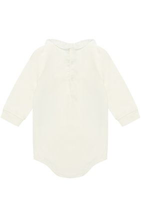 Детское хлопковое боди с оборкой IL GUFO белого цвета, арт. A17MB032M0032/12M-18M | Фото 2