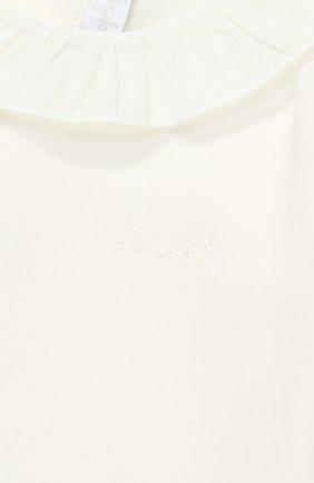 Детское хлопковое боди с оборкой IL GUFO белого цвета, арт. A17MB032M0032/12M-18M | Фото 3
