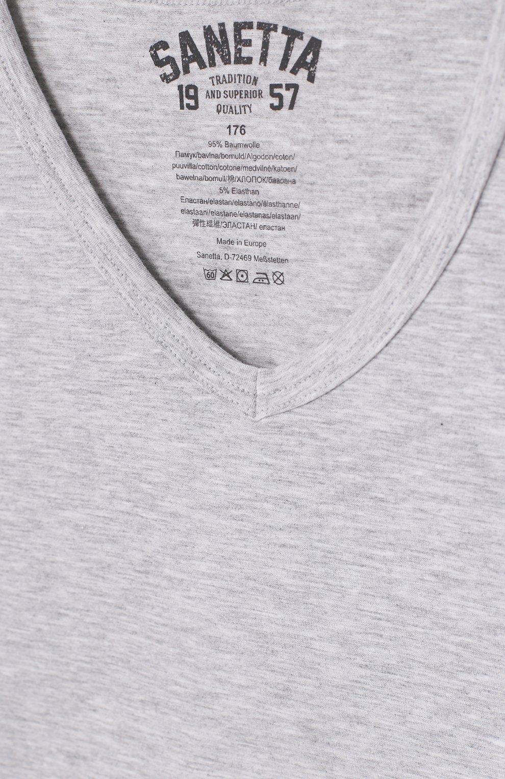 Хлопковая футболка Sanetta серого цвета   Фото №3
