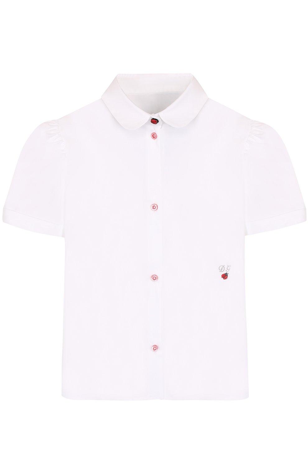 Хлопковая блуза с вышивкой и контрастными пуговицами | Фото №1