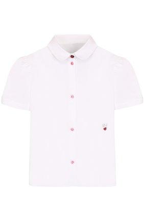 Детская хлопковая блуза с вышивкой и контрастными пуговицами Dolce & Gabbana белого цвета | Фото №1
