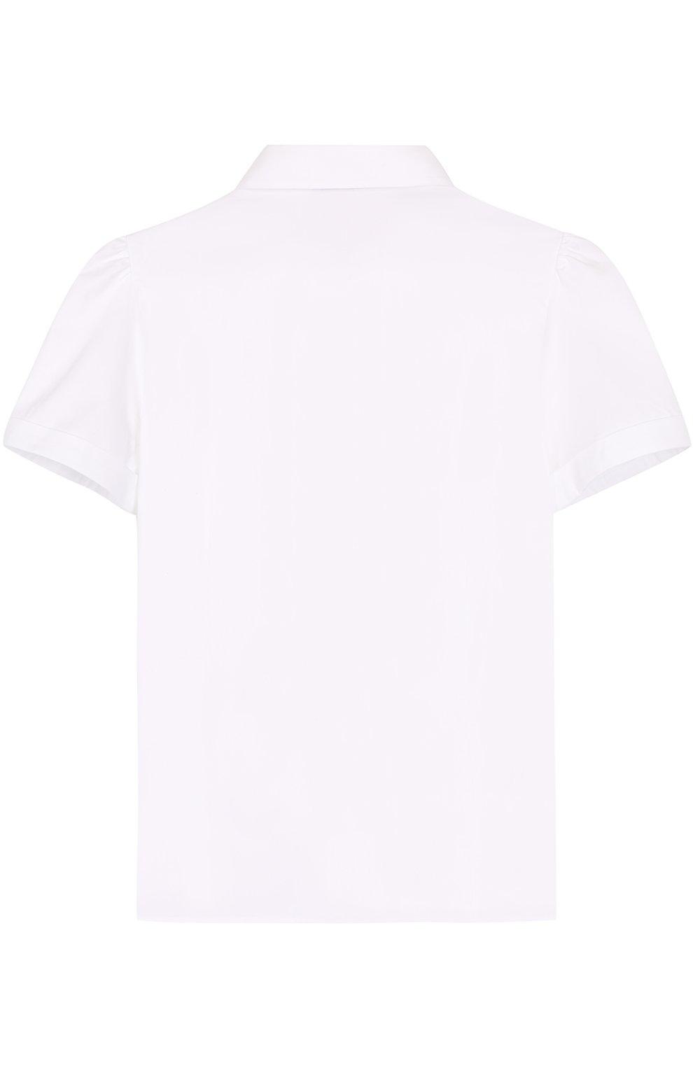 Детская хлопковая блуза с вышивкой и контрастными пуговицами Dolce & Gabbana белого цвета | Фото №2