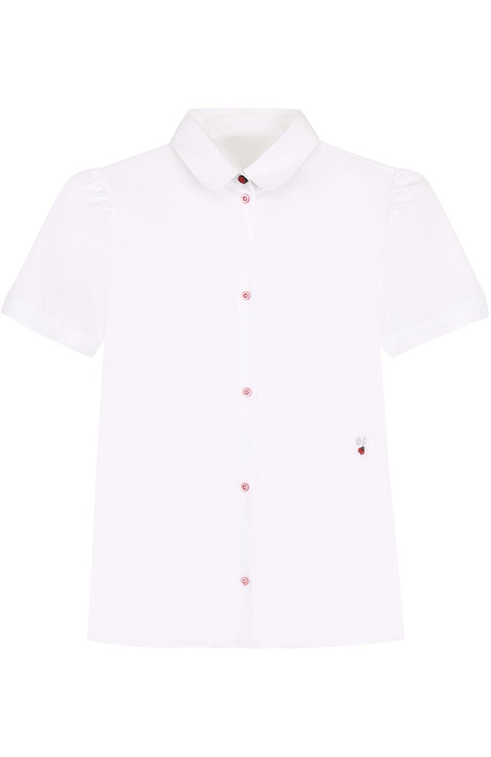 Хлопковая блуза с вышивкой и контрастными пуговицами   Фото №1