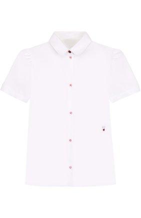 Детская хлопковая блуза с вышивкой и контрастными пуговицами Dolce & Gabbana белого цвета   Фото №1