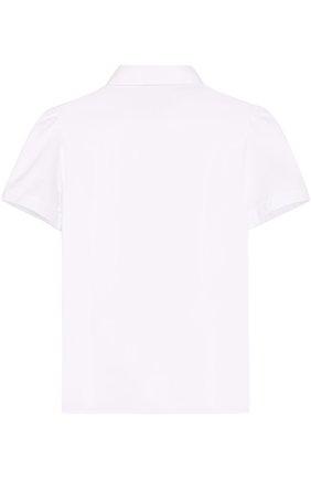 Детская хлопковая блуза с вышивкой и контрастными пуговицами Dolce & Gabbana белого цвета   Фото №2
