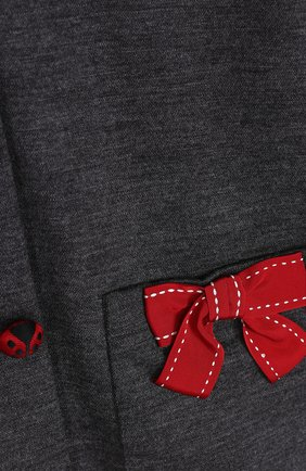 Детский шерстяной кардиган с бантами и декоративными пуговицами Dolce & Gabbana серого цвета | Фото №3