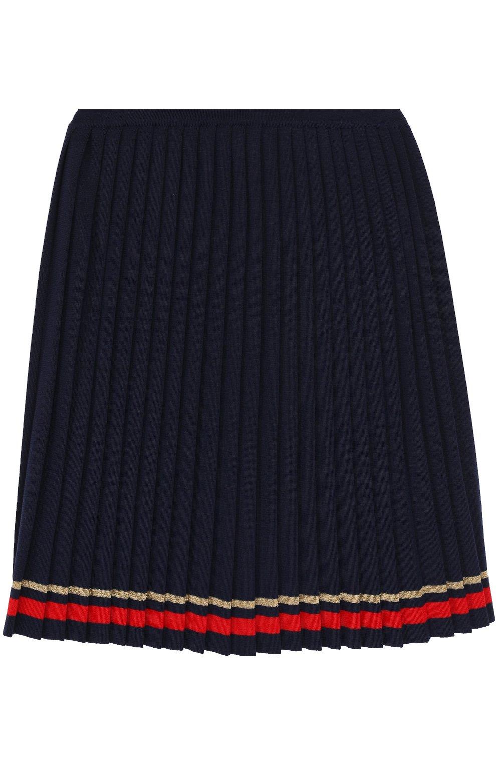 Плиссированная юбка с контрастной отделкой | Фото №1