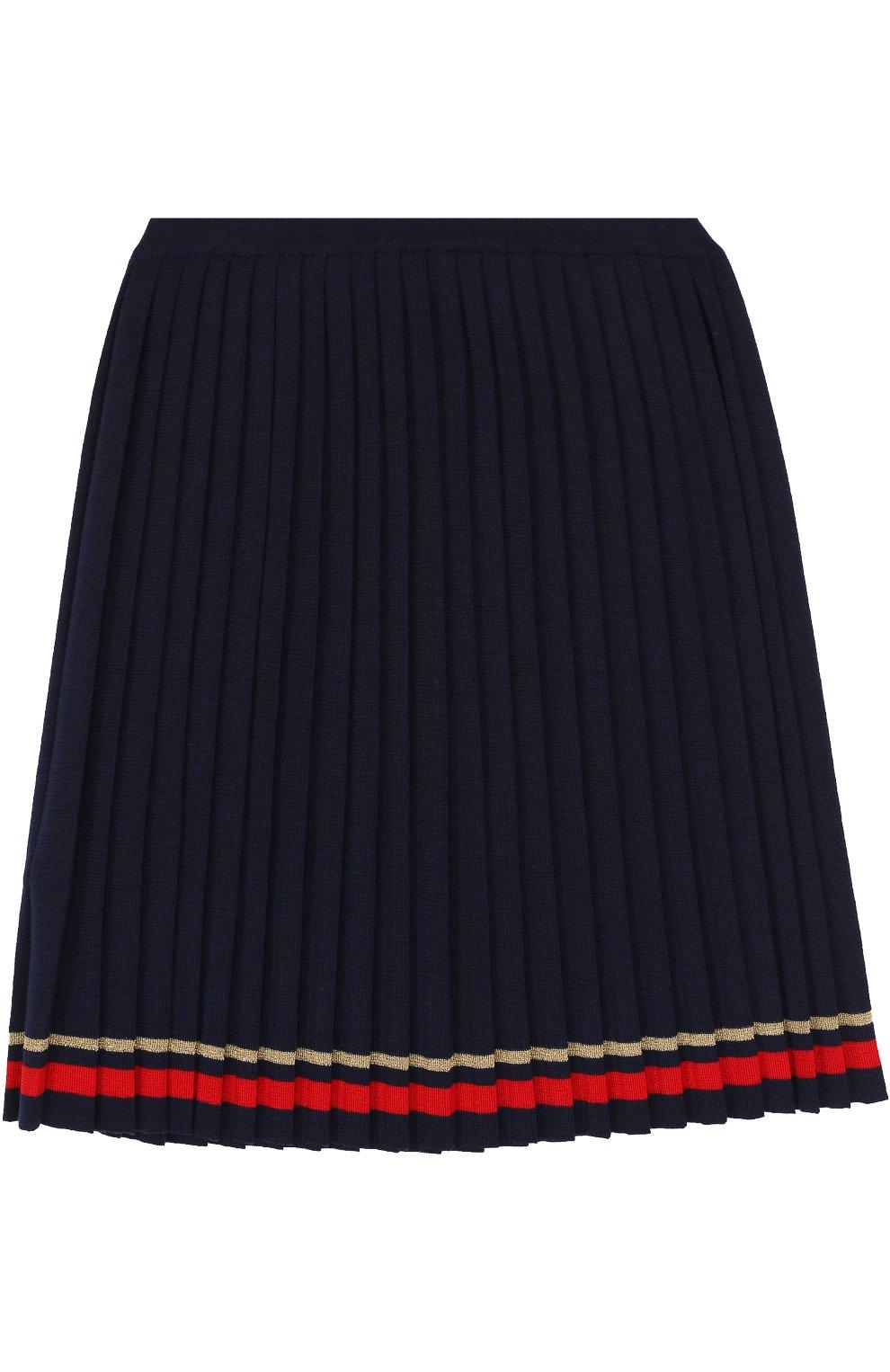 Плиссированная юбка с контрастной отделкой | Фото №2