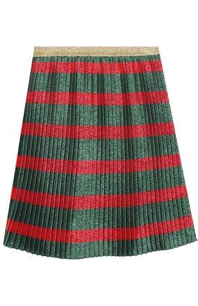 Плиссированная юбка с принтом и металлизированной отделкой | Фото №1