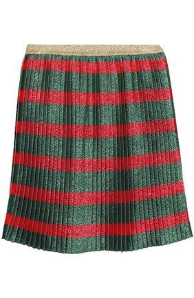 Плиссированная юбка с принтом и металлизированной отделкой | Фото №2