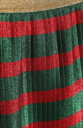 Плиссированная юбка с принтом и металлизированной отделкой | Фото №3