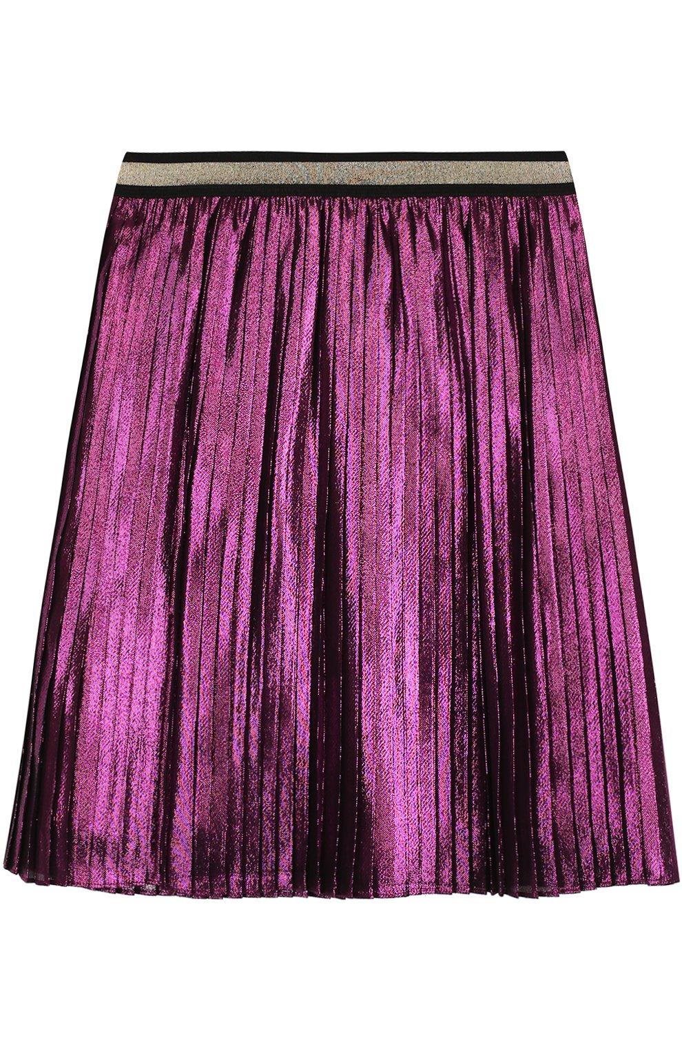 Плиссированная юбка с металлизированной отделкой и контрастным поясом | Фото №1