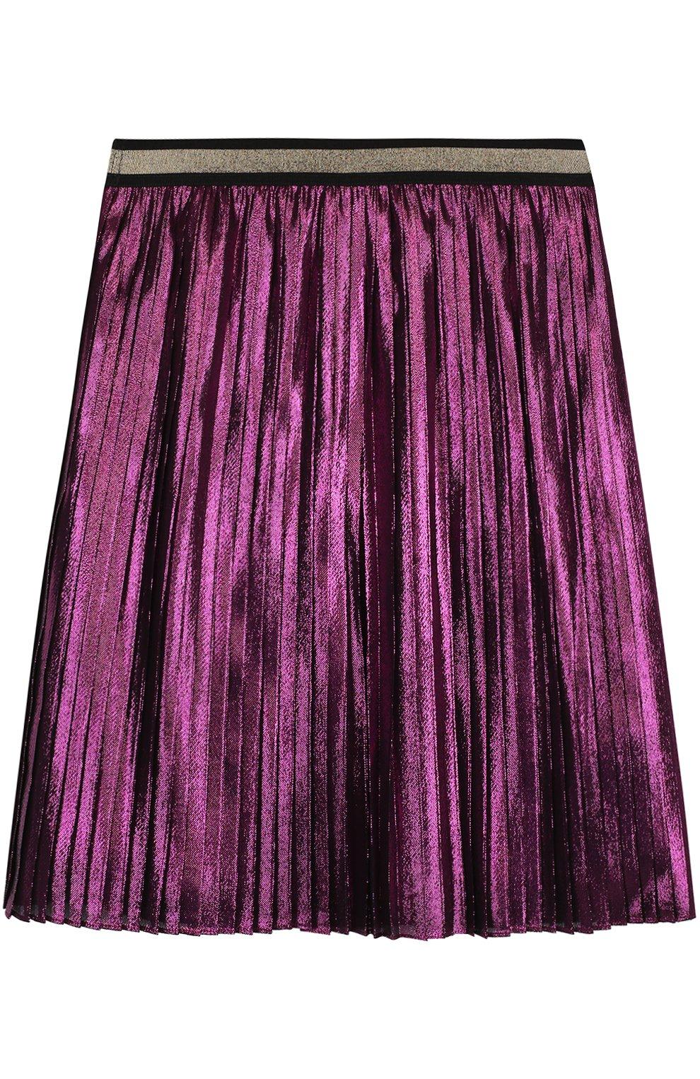 Плиссированная юбка с металлизированной отделкой и контрастным поясом | Фото №2
