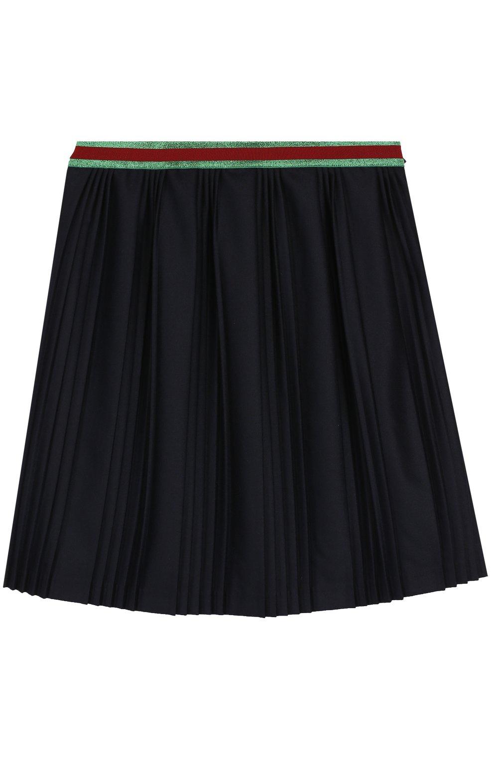 Плиссированная юбка с контрастным поясом | Фото №1