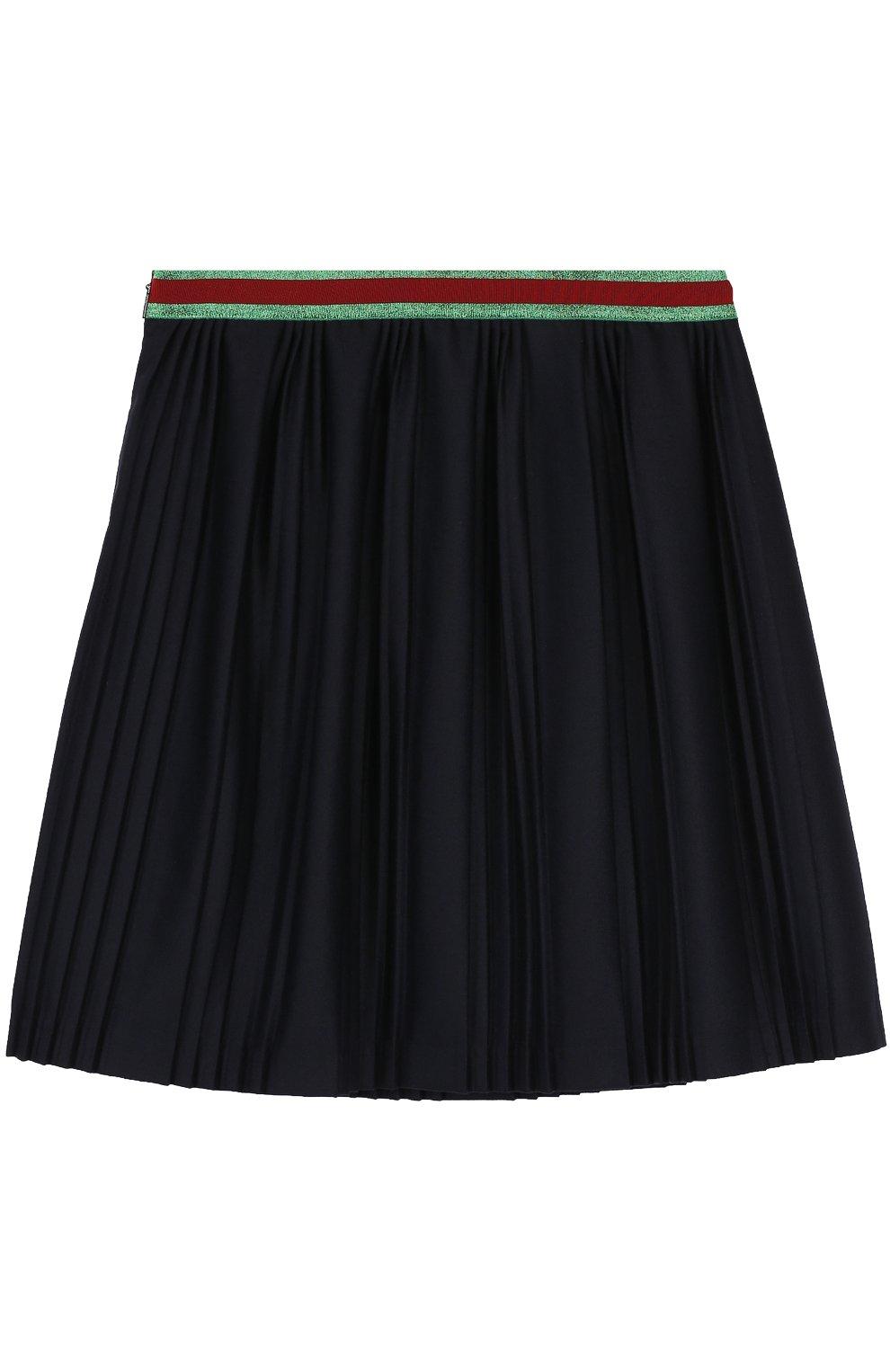 Плиссированная юбка с контрастным поясом | Фото №2