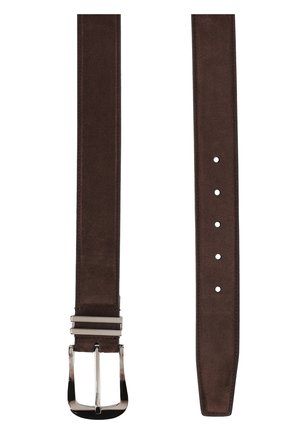 Мужской замшевый ремень с металлической пряжкой BRIONI коричневого цвета, арт. 0BFF/P3711 | Фото 2