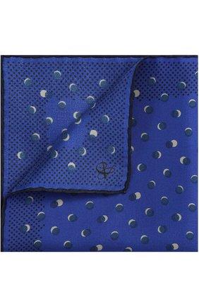 Мужской шелковый платок с принтом CANALI синего цвета, арт. 03/HS01337   Фото 1