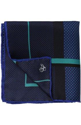 Мужской шелковый платок с принтом CANALI синего цвета, арт. 03/HS01338   Фото 1
