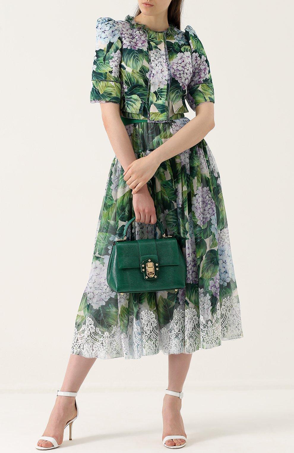 Сумка Lucia из тисненой кожи Dolce & Gabbana зеленая цвета   Фото №2