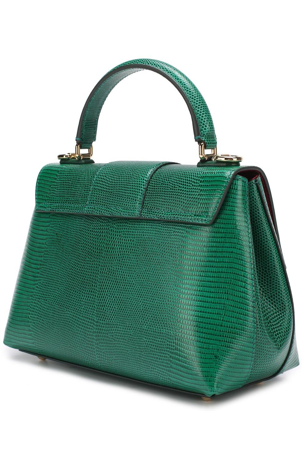 Сумка Lucia из тисненой кожи Dolce & Gabbana зеленая цвета   Фото №3